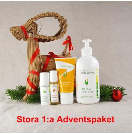 Stora 1:a Adventspaketet: Handpaket Lavendelcrème, Ringblomssalva, Intensivstift, Nagelolja