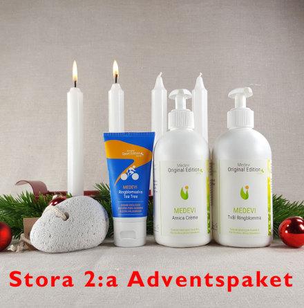 Stora 2:a adventspaketet: Fotpaket Arnica crème, Ringblomsalva med Tea tree, Ringblomstvål och pimpsten med snöre.